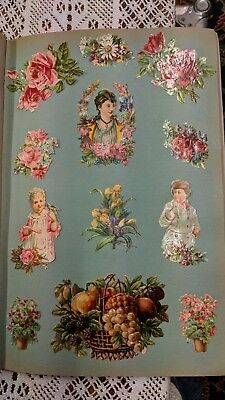 Antique circa 1880s chromo lithographic die cut outs embossed paper scraps