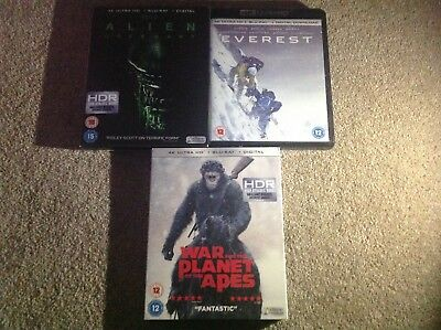 4K Uhd Blu Ray Job Lot War For The Planet Of The Apes Alien Covenant Everest 1