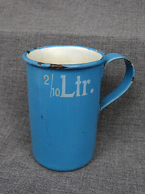alter Emaille Becher 2/10 Ltr. - sehr selten - blaue Emaille - 19. Jh.