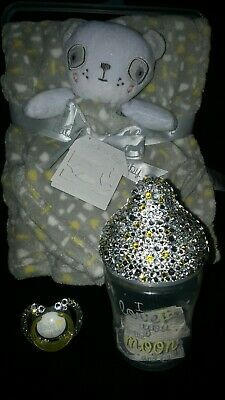 baby blanket + comforter with nuby bling bottle and soother gift set
