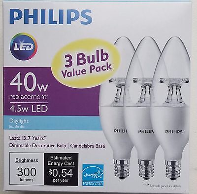 3-Pack LED Philips 40W Day Light Dimmable decorative B11  Candelabra Base