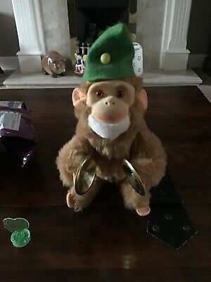 antique vintage german clock work wind up Cymbals monkey chimp