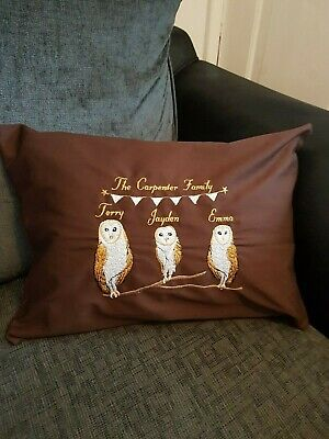 personalised embroidered owl family cushion