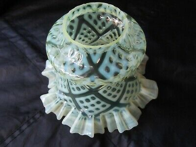 A Victorian Vaseline Glass  Peg Lamp Oil Lamp Shade. 5cm fit.