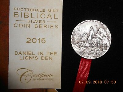 Scottsdale Mint Biblical Silver Coin Series 2016 Daniel in lions Den 2 oz silver