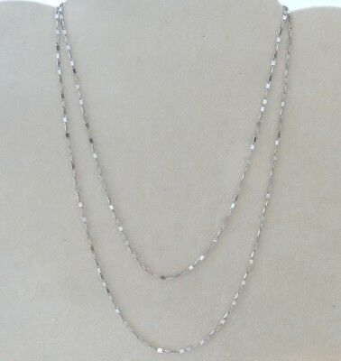 1eac0bbc9fe4 CARTIER FIDELITY 18K White Gold Flat Bar Link Chain Necklace 17.5 ...