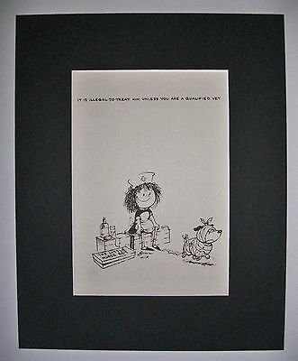 Dog Cartoon Print Norman Thelwell Qualified Vet Bookplate 1964 8x10 Matted Cutie