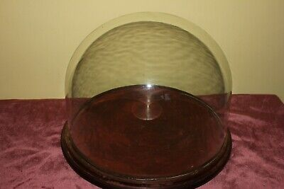 Large Vintage Glass Display Dome On Wooden Base Suitable For Taxidermy