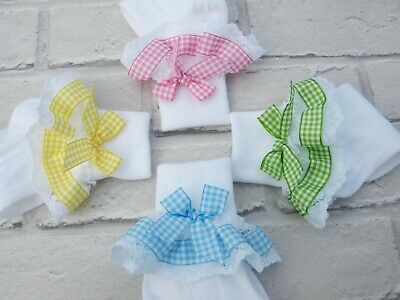 Baby Girls White Frilly Multi Colour Summer Gingham School Socks Various Sizes