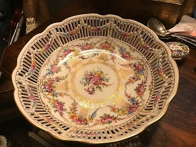 """Carl Thieme Dresden Porcelain Reticulated Bowl Footed Vintage Floral Flowers 9"""""""