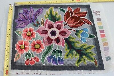 Completed Tapestry, flowers in half cross stitch, for Cushion or decorative item