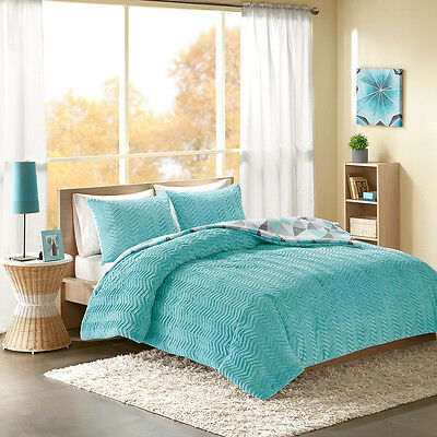 ULTRA SOFT MODERN REVERSIBLE PINK TEAL CHEVRON SPORTY STRIPE BLUE COMFORTER SET