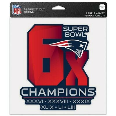 "New England Patriots 6X Super Bowl Champions 8""x8"" Logo Cut Decal For Windows"