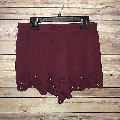 eeb7383a835 Brandy Melville Boho Shorts One Size maroon scalloped flowy Wine Cut Out W63