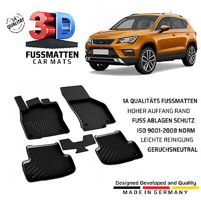 3 Piece 3PC 3 PC Virgo Rubber Car Mats Full Set For Seat Ateca 2016 On