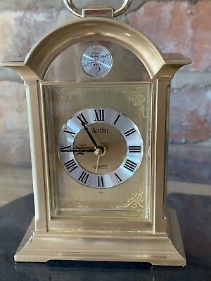 Small Brass Acctim Quartz Carriage Clock With Alarm In Working Order
