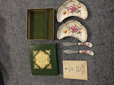 Royal Crown Derby Bone China Antique Butter Dishes/Knives--Original Box