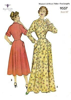 """Vintage 1950's Sewing Pattern Housecoat Robe Dressing Gown Dress Bust 38"""""""