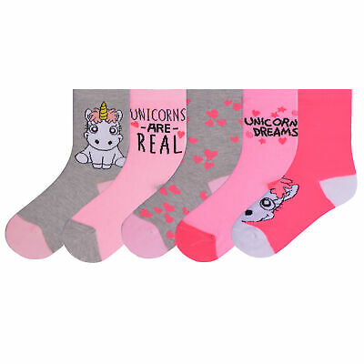 Girls 10 Pairs Ankle Socks Childrens Design Unicorn Socks Novelty Character