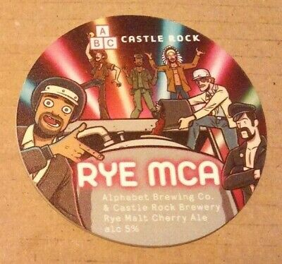 Craft Beer keg font badge ABC & CASTLE ROCK brewery RYE MCA ale pump clip front