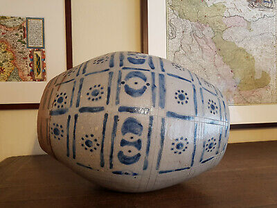 Antique large Westerwald stoneware barrel 18th century German pottery Bellarmine