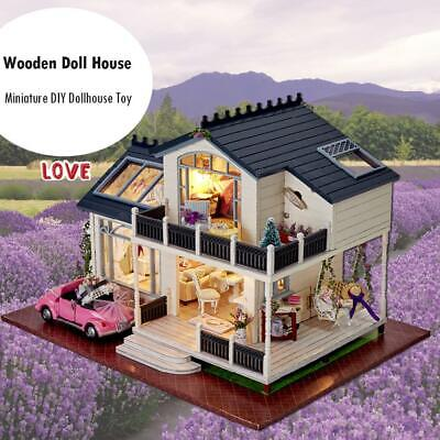 Lavender Handmade Wooden Doll House Miniature DIY Dollhouse Furniture Toy Gifts