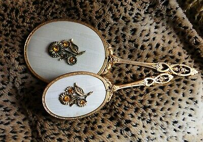 Truly Vintage Jeweled Dresser Set, Mirror & Brush, Gold-Tone, Nice!