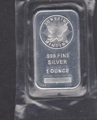 Sunshine Minting Silver Bar, One Troy Ounce .999 Fine Silver   Dd - 231