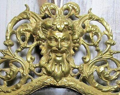 Fine Antique Victorian Brass Bacchus,Dionysus,Beveled Mirror Wall Candle Sconce