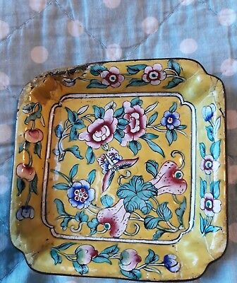Antique Chinese Cloisonne Enamel Trinket Dish Yellow oriental pattern