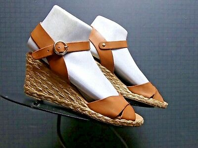 e5e322acf22 Palomitas by Paloma Barcelo Tan Leather Ankle Slingback Wedge Sz. 38 7.5  MINT