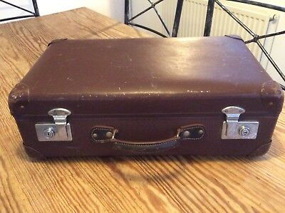 Globetrotter, Vintage Retro, Brown Leather Suitcase. Good for a Wedding Box