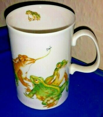 Dunoon Mud Larks Frogs Toads Fine Bone China Mug by Cherry Denman - VGC