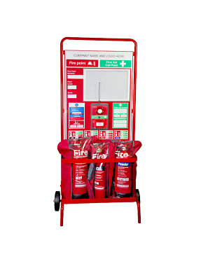 Robust Wheeled Construction Fire Safety Extinguisher Point, Fire Equipment Stand