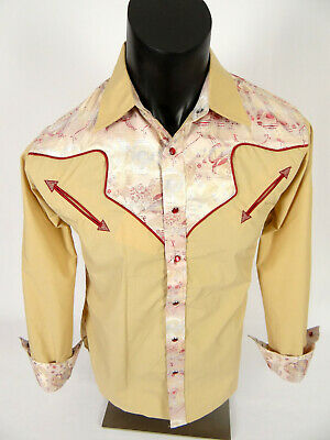 Mens Snap-Up Western Style Shirt Khaki with Red Trim Inlay and Paisley