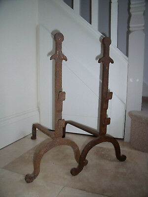 Arts And Crafts Hand Forged Andirons Fire Dogs, Impressive 56 Cm High