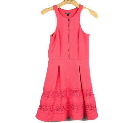 Express Coral Pink Zip Front Sleeveless Lace Dress With Pockets Womens Size 2