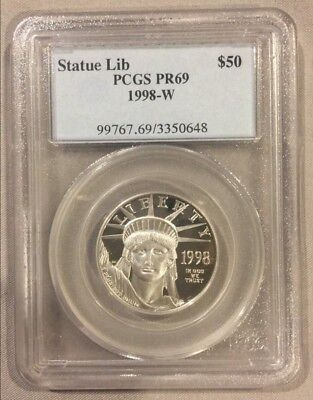 1998-W $50 PCGS PR69 Platinum American Eagle / Statue of Liberty Coin 1/2 oz