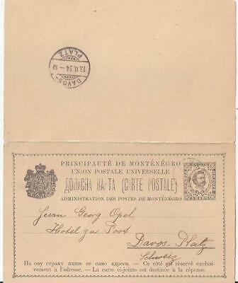 Montenegro 1894 stat pc 5 H with paid reply, CETINJE to DAVOS/Suisse