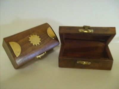 """Beautiful Carved Wooden Box with real Brass Inlaid 2"""" x 3.5"""""""