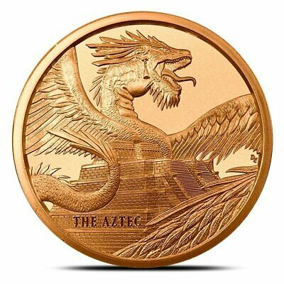 The Aztec 1 OZ Copper Round World Of Dragons in air tite capsule Amazing round!
