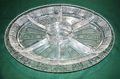 Bohemia Czech Queen Lace hand cut 24% lead crystal oval tray with 7 inserts