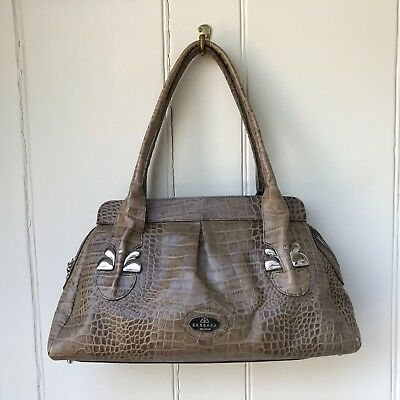 4740a032e1 Barbara Milano Shoulder Bag Handbag Brown Leather Medium Zip Up Reptile  Pattern