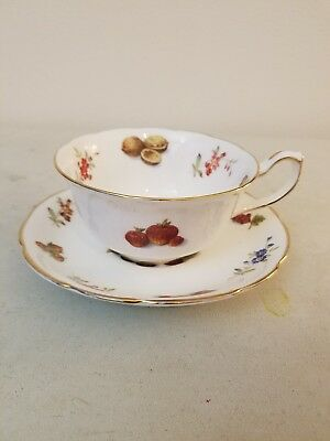 vintage hammersley china tea cup and saucer gold trim flowers and fruit
