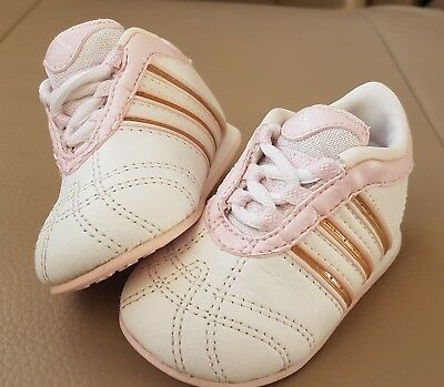 1a92ee980349 BABY INFANT ADIDAS DNS 642001 PINK White Shoes Trainers UK 3k STUNNING  leather - EUR 5