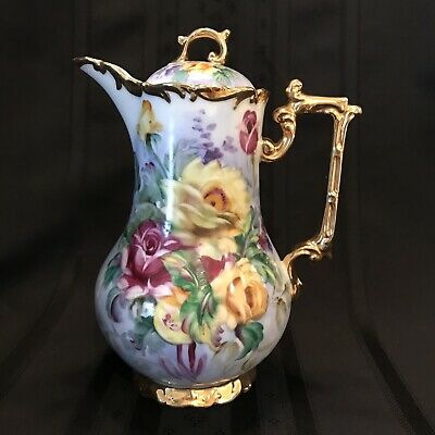 Vintage Chocolate Pot / Coffee Pot Handpainted Floral With Heavy Gold Trim ~