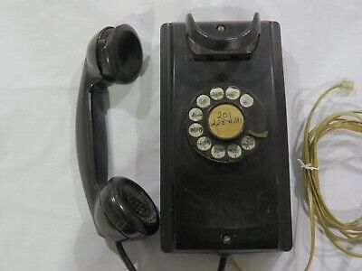 Vintage Western Electric Model 354 Rotary Dial Wall Phone - F1 Handset (Black)