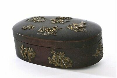 Old 1900's Japanese 11 Menuki Sword Fitting Decorated Copper Metal Box Owl Bird