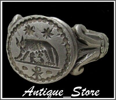** SHE-WOLF with CHI-RHO **Ancient Legionary Silver Roman Ring **AMAZING **