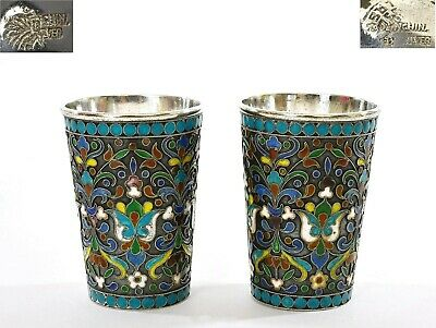 Pair 1930's Russian Style Sterling Silver Enamel 59G Vodka Shot Cup Mk